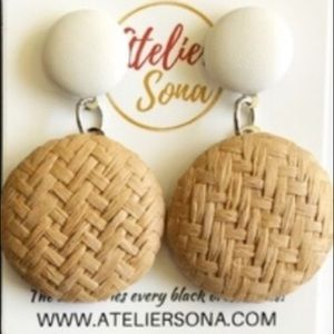 Woven Straw Disc Earrings